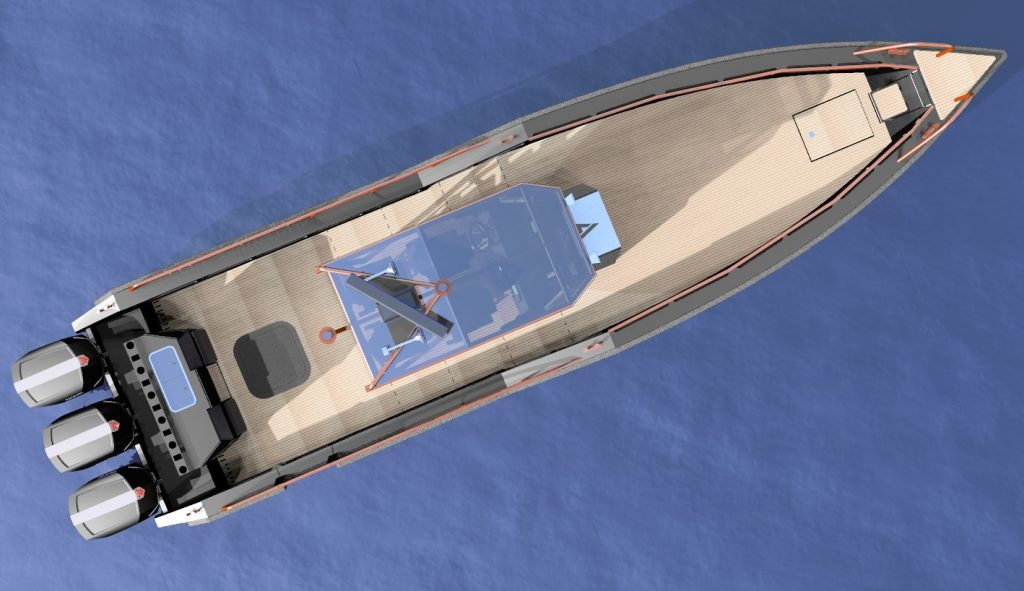 A view of AluVenture 11000 center console from above