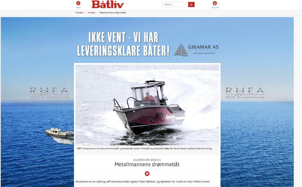 Screenshot Båtliv 6500 artikkel Metalmannens drømmebåt